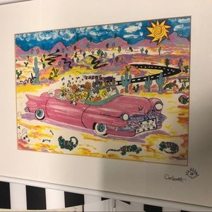 Print cats pink Cadillac in desert by Corbett